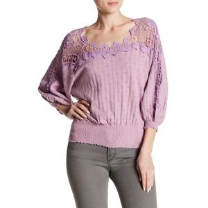 Free People Love Lace Peasant Crochet Sweater S